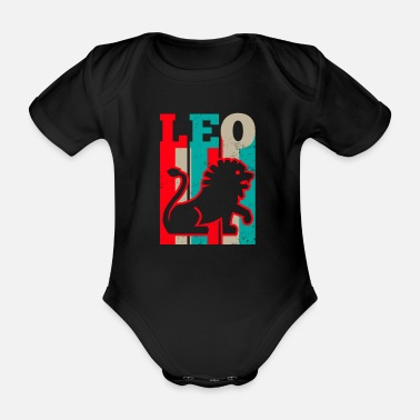 Leo Leo Zodiac Vintage Retro Sign Gift - Organic Short-sleeved Baby Bodysuit