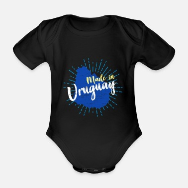 South America Uruguay South America Montevideo Country Flag Gift - Organic Short-Sleeved Baby Bodysuit