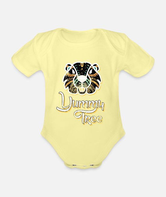 Bieber Baby Clothes - Beaver animal protection environmental protection gift - Organic Short-Sleeved Baby Bodysuit washed yellow