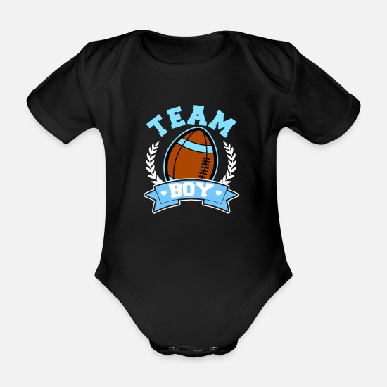 Pink Baby Clothes - Football Gender Reveal Team Boy Gift - Organic Short-Sleeved Baby Bodysuit black