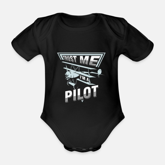Flight Baby Clothes - Airplane Aircraft Mechanic Aviator Aircraft Pilot - Organic Short-Sleeved Baby Bodysuit black