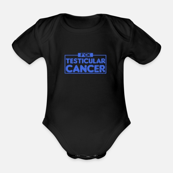 Chemo Baby Clothes - Testicular Cancer F*ck Cancer Gift - Organic Short-Sleeved Baby Bodysuit black
