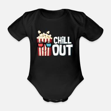 Cola Popcorn, chill out popcorn bag with glasses as a snack - Organic Short-Sleeved Baby Bodysuit