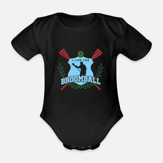 Game Ball Baby Clothes - I Live For Broomball Goaltender Ice Rink Game Gift - Organic Short-Sleeved Baby Bodysuit black