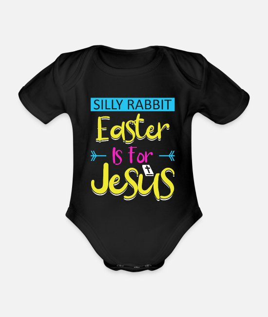 Eggshell Baby Bodysuits - Easter egg - Organic Short-Sleeved Baby Bodysuit black