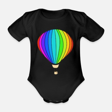 Hot Air Balloon Balloon rainbow hot air balloon - Organic Short-sleeved Baby Bodysuit
