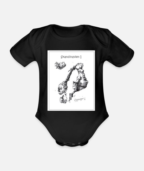 Copenhagen Baby Bodysuits - World Map SCANDINAVIA I - Organic Short-Sleeved Baby Bodysuit black