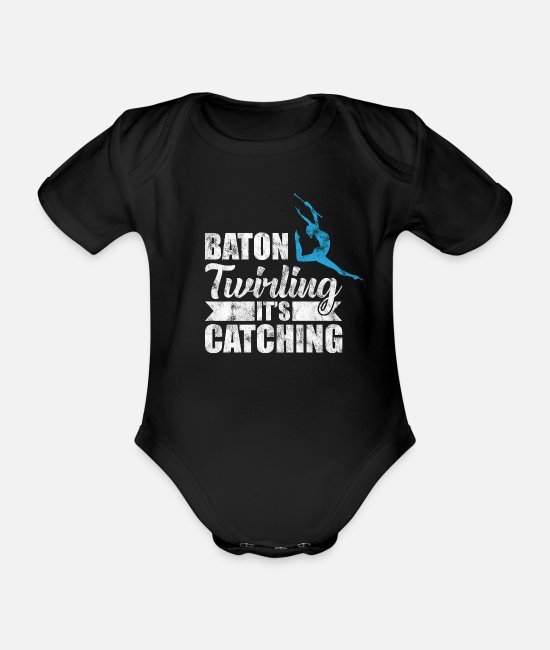 Sports Baby Clothes - Twirling Sport Twirling Sport Gift - Organic Short-Sleeved Baby Bodysuit black