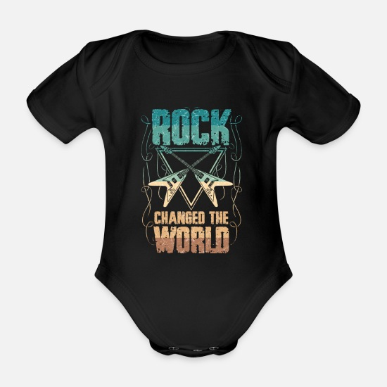 Rock 'n' Roll Baby Clothes - Rock legend rock and roll music guitar gift - Organic Short-Sleeved Baby Bodysuit black