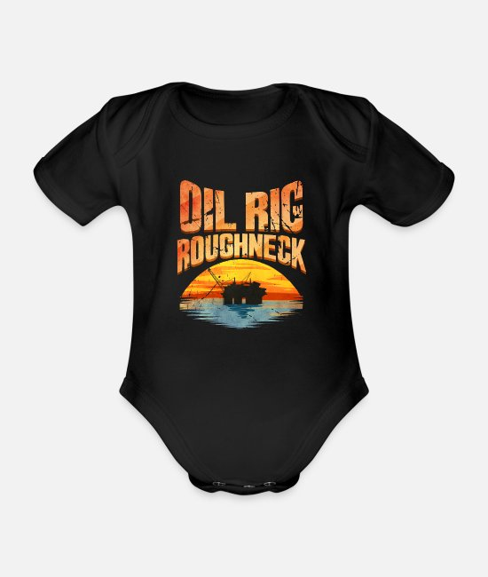 Middle East Baby Bodysuits - Oil Rig Worker Roughneck - Organic Short-Sleeved Baby Bodysuit black