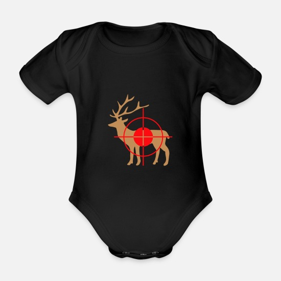 Forest Animal Baby Clothes - Deer Hunter Hunting Deer - Organic Short-Sleeved Baby Bodysuit black