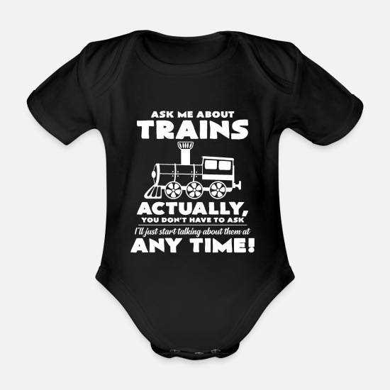 Railway Station Baby Clothes - train - Organic Short-Sleeved Baby Bodysuit black