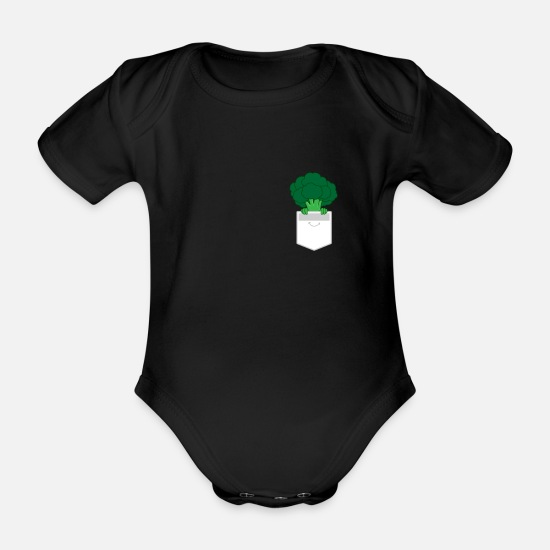 Broccoli Baby Clothes - Broccoli Vegan Vegan Vegetarian Gift - Organic Short-Sleeved Baby Bodysuit black