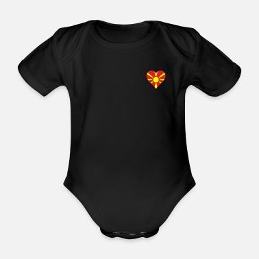 Mouth Macedonia Flag Heart - Organic Short-Sleeved Baby Bodysuit
