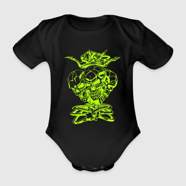 Skull Tripple Skull Head With Crown - Økologisk kortermet baby-body