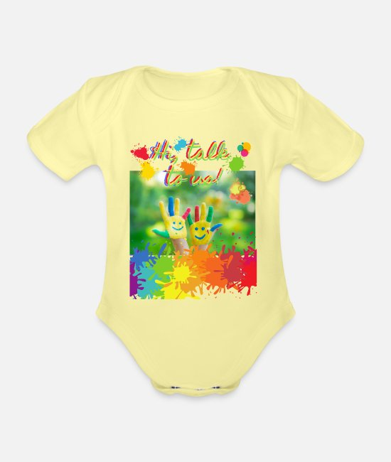 Artist Baby Clothes - Hi, talk to us! with colorful hands - Organic Short-Sleeved Baby Bodysuit washed yellow