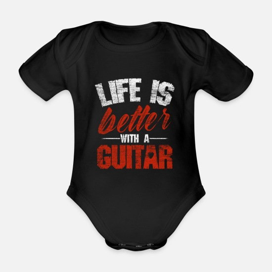 Rock Baby Clothes - guitar - Organic Short-Sleeved Baby Bodysuit black