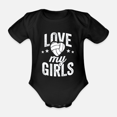 Beach Volleyball Love My Girls Volleyball TShirt for Mom Dad of - Organic Short-sleeved Baby Bodysuit