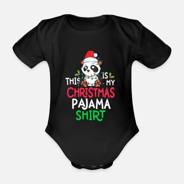 Cane Sloth Tree Lights Funny This Is My Christmas - Organic Short-Sleeved Baby Bodysuit