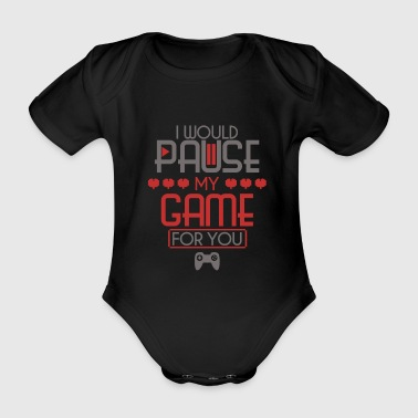 Video Game Game Pause Heart Controller Player - Organic Short-sleeved Baby Bodysuit
