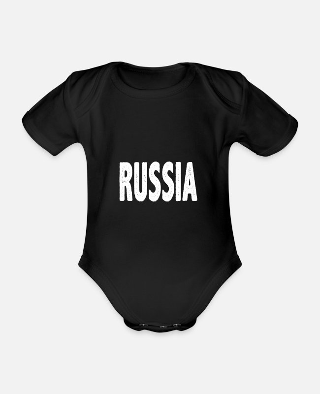 Design Baby Bodysuits - Russia Russian - Organic Short-Sleeved Baby Bodysuit black