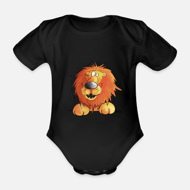 Kids Funny lion i lion head comic i illustration - Organic Short-Sleeved Baby Bodysuit