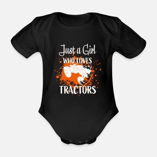 Gift Idea Baby Clothes - Tractor girl - Organic Short-Sleeved Baby Bodysuit black