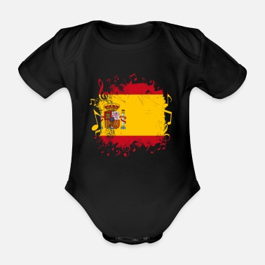 T Spain flag music - Organic Short-Sleeved Baby Bodysuit
