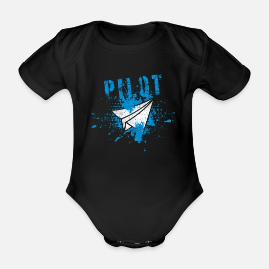 Gift Idea Baby Clothes - pilot - Organic Short-Sleeved Baby Bodysuit black