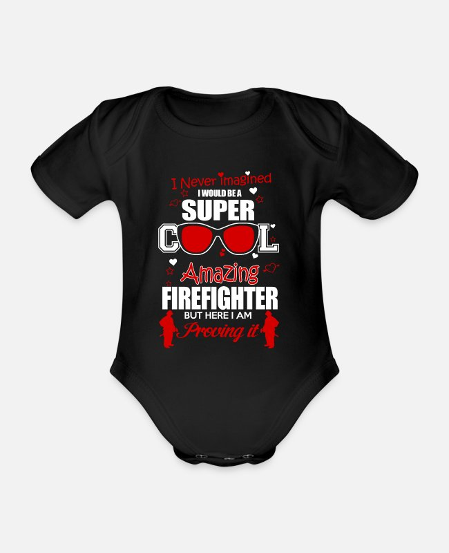 Fire Department Baby Bodysuits - Firefighters firebrigade fire defense defender new ho - Organic Short-Sleeved Baby Bodysuit black