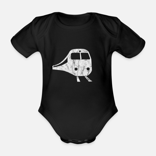 Train Baby Clothes - train - Organic Short-Sleeved Baby Bodysuit black