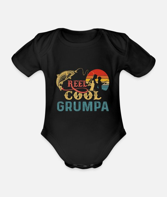 Father's Day Baby Bodysuits - Mens Vintage Reel Cool Grumpa T Shirt For Fishing - Organic Short-Sleeved Baby Bodysuit black