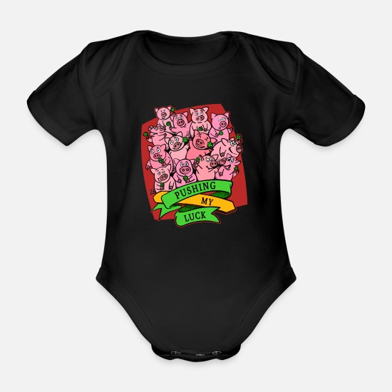 Lucky Baby Clothes - Good luck lucky pig shamrock lucky charm - Organic Short-Sleeved Baby Bodysuit black