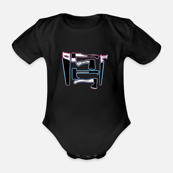 Gift Idea Baby Clothes - Tool craftsman - Organic Short-Sleeved Baby Bodysuit black