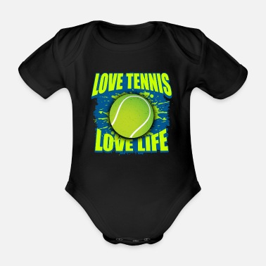 Longline Tennis ball gift - Organic Short-Sleeved Baby Bodysuit