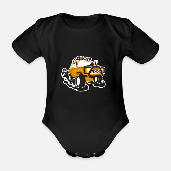 Road Trip Baby Clothes - SUVs - Organic Short-Sleeved Baby Bodysuit black