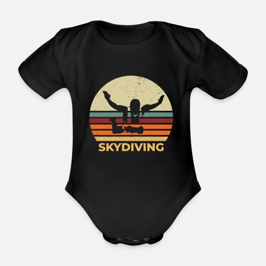 Gift Idea Baby Clothes - Skydiving vintage retro skydiver gift - Organic Short-Sleeved Baby Bodysuit black