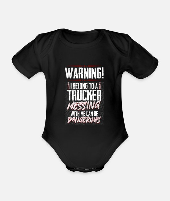 I Love Dad Baby Bodys - Funny I Belong To A Trucker Truck Driver Gift Idea - Baby Bio Kurzarmbody Schwarz