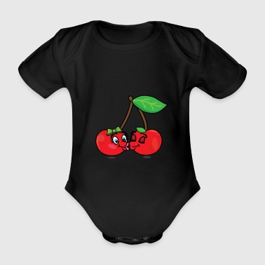 Two cherries are kissing and in love - Organic Short-sleeved Baby Bodysuit