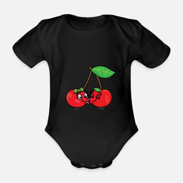 Cherries Two cherries are kissing and in love - Organic Short-sleeved Baby Bodysuit
