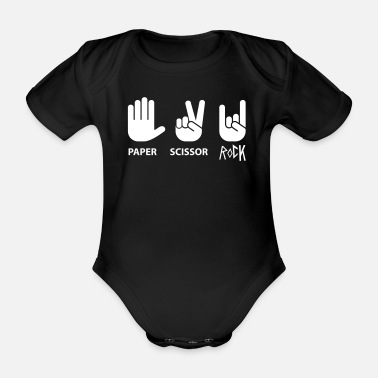 Rock Paper Scissors Paper scissor rock - Organic Short-sleeved Baby Bodysuit