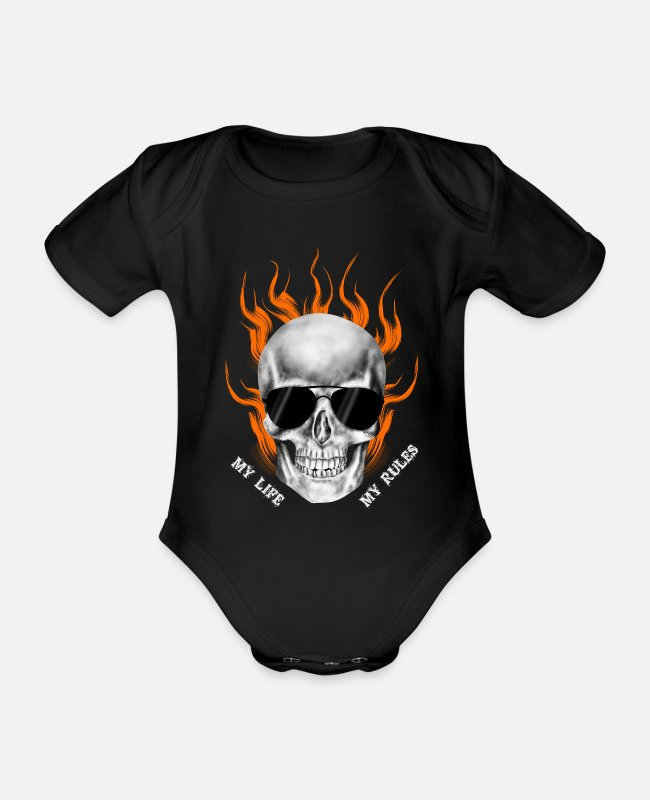 Kind Baby Bodysuits - MY LIFE MY RULES - Organic Short-Sleeved Baby Bodysuit black