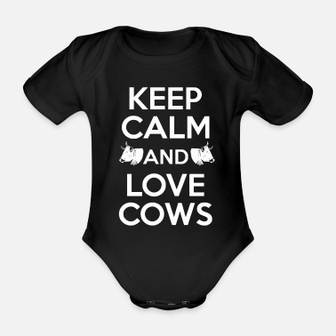 Cow Keep Calm and Love Cows - Organic Short-Sleeved Baby Bodysuit