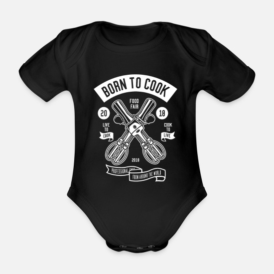 Birthday Baby Clothes - Cook - Organic Short-Sleeved Baby Bodysuit black