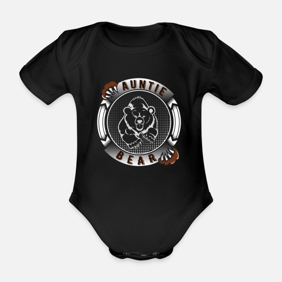 Blessing Baby Clothes - Auntie Bear - Organic Short-Sleeved Baby Bodysuit black
