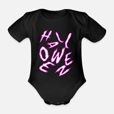 Messed Up Halloween jumble colorful - Organic Short-Sleeved Baby Bodysuit