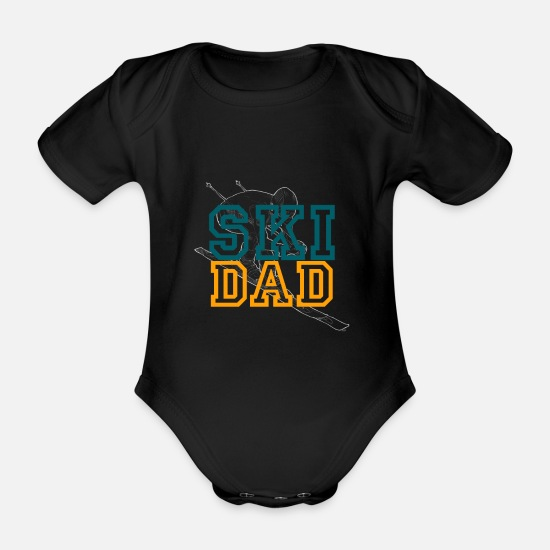Freestyle Baby Clothes - Skiing Skiing Skiing Skiing Skiing - Organic Short-Sleeved Baby Bodysuit black