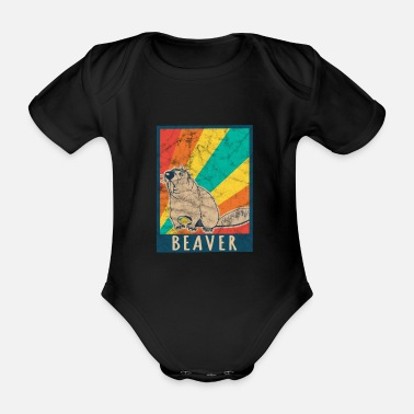 Beaver Beaver beaver animals sweet used - Organic Short-sleeved Baby Bodysuit