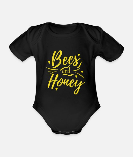 Tierschützer Baby Bodys - Bees and Honey 2 - Baby Bio Kurzarmbody Schwarz