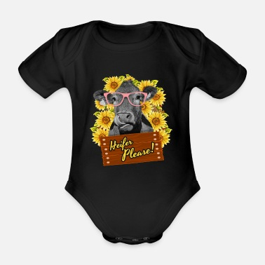 Bull Heifer Please Funny sunflower cow glasses - Organic Short-Sleeved Baby Bodysuit